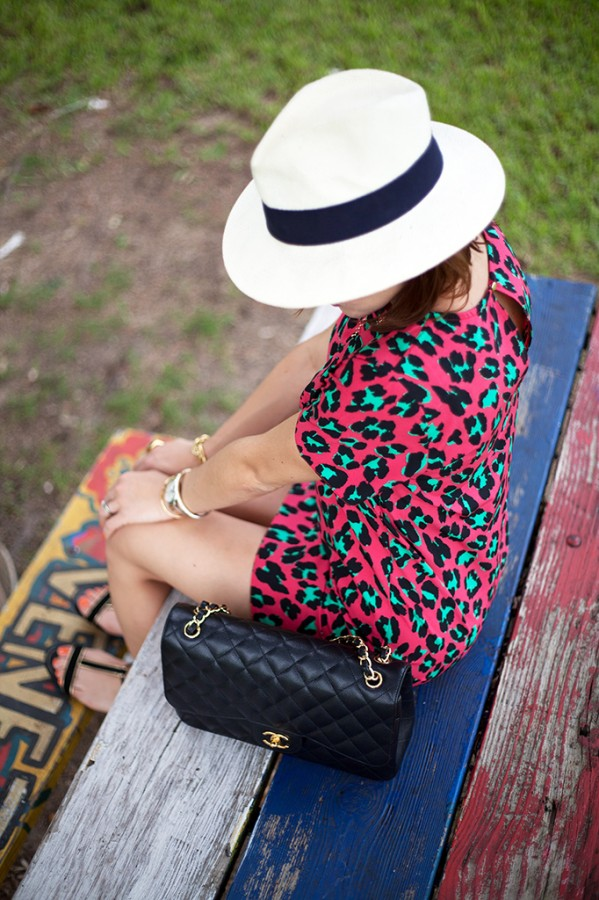 10-12-15 Blame it on Mei Fall 2015 SheIn loapard dress JCrew panama hat Fashion Blog Blogger Henri Bendel ring Tiffany T bracelet JewelMint necklace Chanel Classic Flap Zara sandals