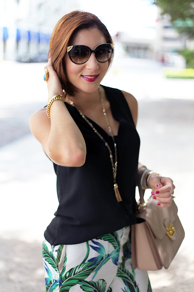 Blame it on Mei Zara Palm Tree Fall 2015 Nordstrom Top Fashion Blogger Henri Bendel Tiffany T bracelet Cartier Ballon Bleu Louis Vuitton sunglasses Miu Miu MIchael Kors Baublebar