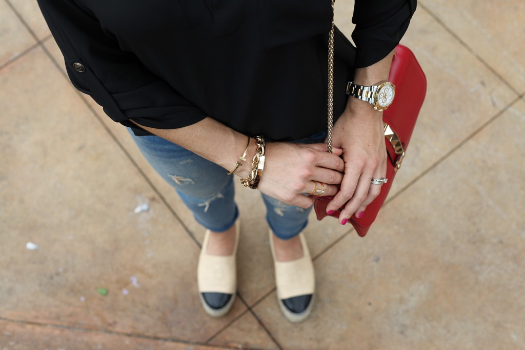 Blame it on Mei Nordstrom Top Bun Fall 2015 Fashion Blogger Rolex Daytona Destroyed Ripped Jeans Tiffany bracelet Henri Bendel Chanel Espadrille D&G sunglasses Valentino Rockstud