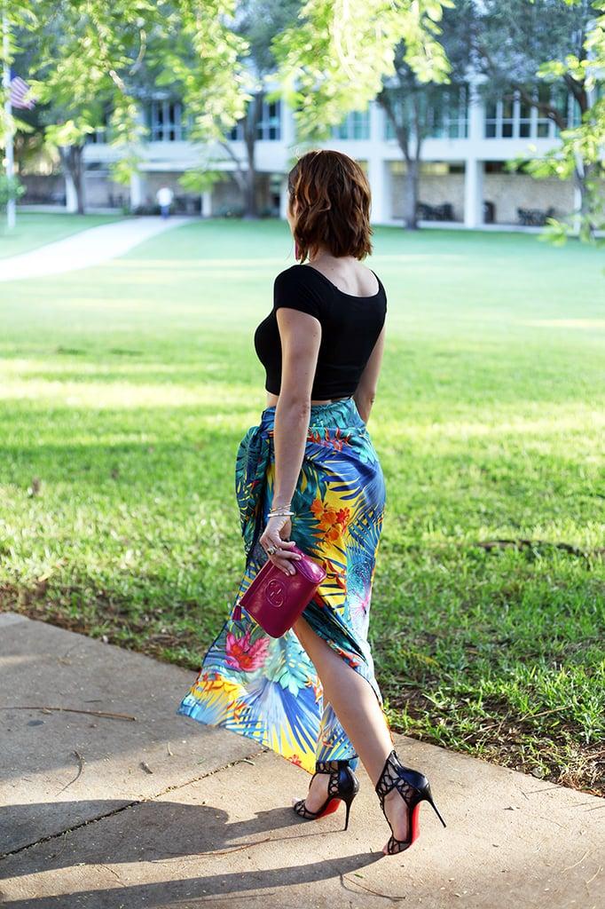 10-26-15 Blame it on Mei Crop Top Salvatore Ferragamo Skirt Bloomingdales Drop Tassel Earrings Fall 2015 Fashion Blogger Tiffany bracelet Henri Bendel Christian Louboutin Gucci