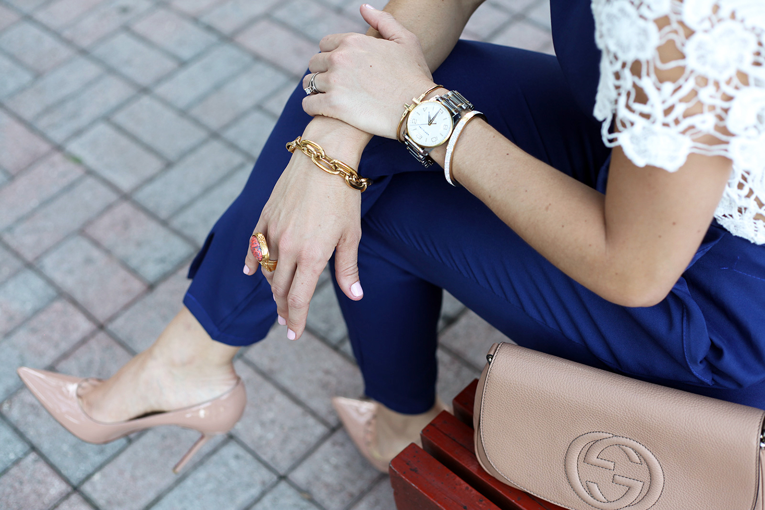 Blame it on Mei Fall 2015 Miami Fashion Blogger SheIn Jumpsuit Lace Top Montblanc TimeWalker Watch Tiffany T bracelet Gucci Soho YSL ring Louboutin Nude Pumps Henri Bendel