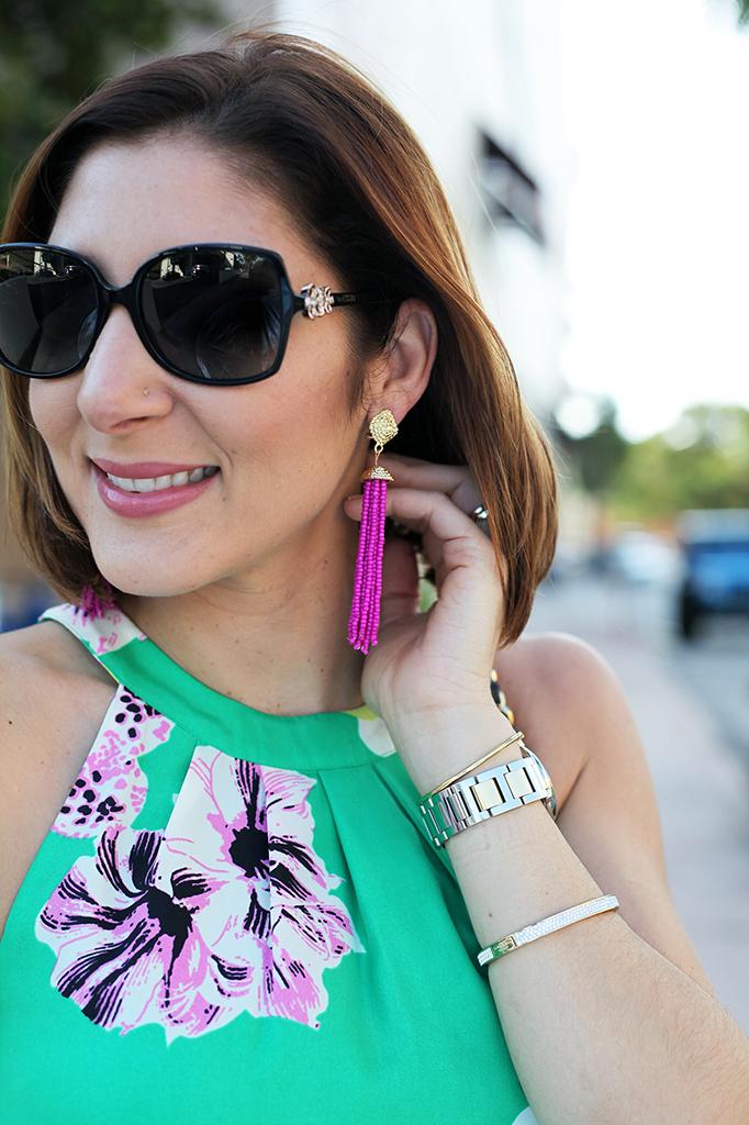Blame it on Mei Miami Fashion Blogger Fall 2015 Baublebar drop tassel Jcrew dress Henri Bendel Tiffany bracelet Cartier Ballon Bleu Bvulgari sunglasses