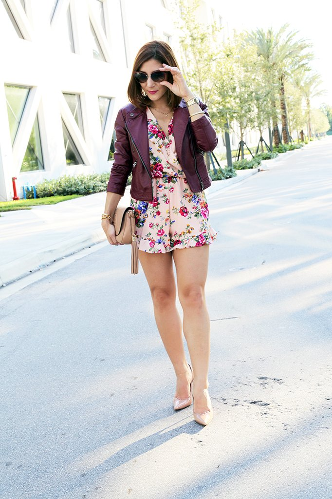 Blame it on Mei Miami Fashion Blogger Fall 2015 D&G sunglasses Nasty Gal floral romper Henri Bendel necklace Ring Tiffany bracelet Gucci Soho Christian Louboutin pumps