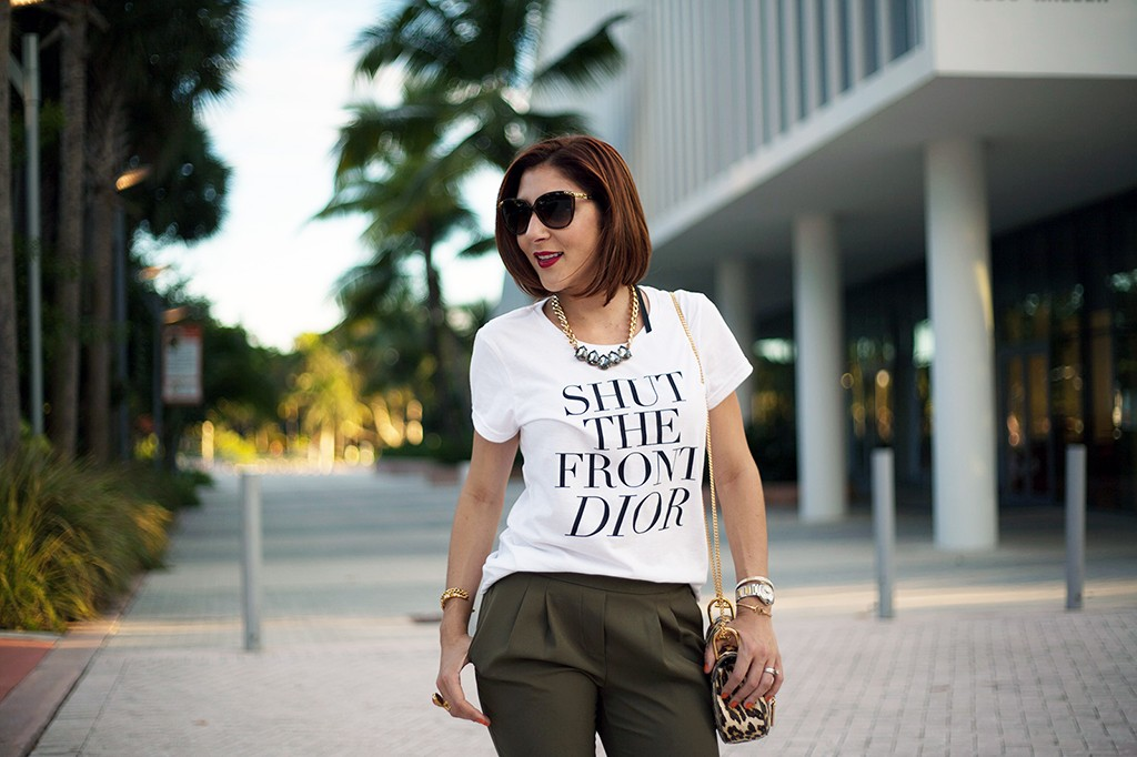 10-7-15 Blame it on Mei Fall 2015 TJ Designs tshirt Nordstrom olive green Fashion Blogger Henri Bendel Tiffany bracelet Chloe Drew Leapord YSL ring Christian Louboutin pumps