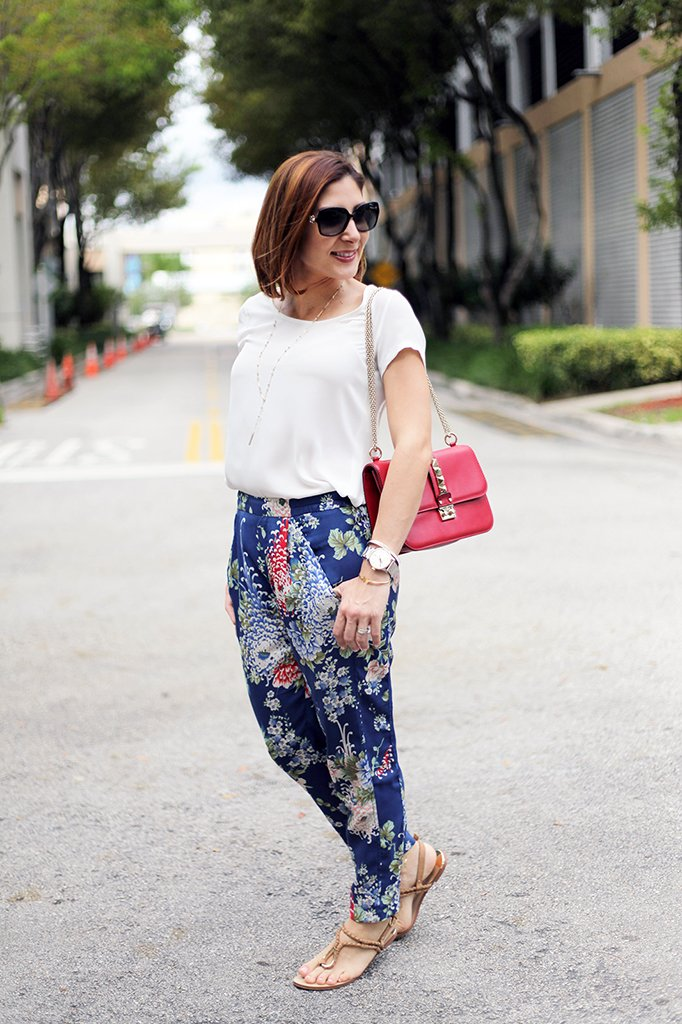 Blame it on Mei Miami Fashion Blogger Fall 2015 Bvlgari sunglasses Zara Floral Pants Henri Bendel Necklace Ring Tiffany Bracelet Valentino Rockstud Handbag Dolce Vita Sandals.jpg