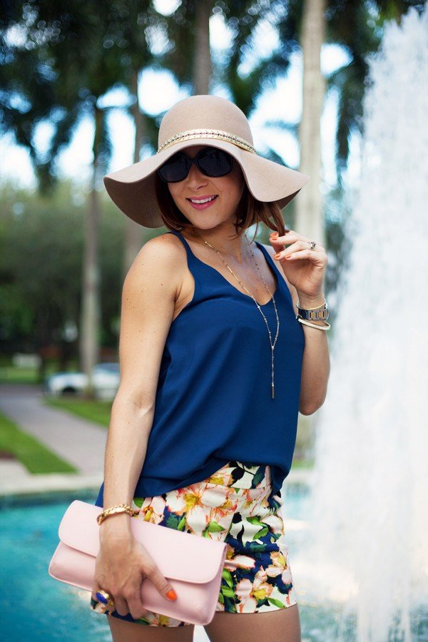 Blame it on Mei Anthropologie Hat Summer 2015 Top Shop Nordstrom Cami Top Fashion Blogger Henri Bendel Tiffany T necklace Cartier Ballon Bleu Bvulgari sunglasses