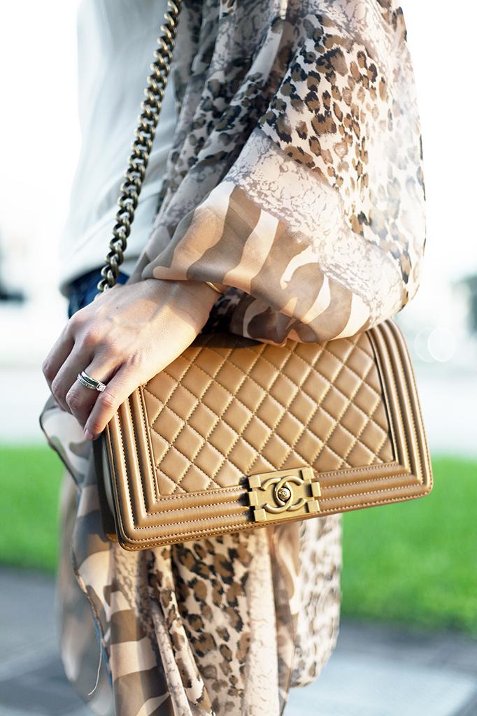 Blame it on Mei Miami Fashion Blogger Fall 2015 Animal Print Kimono Valentino Rockstud Sandal Montblanc Chanel Boy Henri Bendel Tiffany T bracelet
