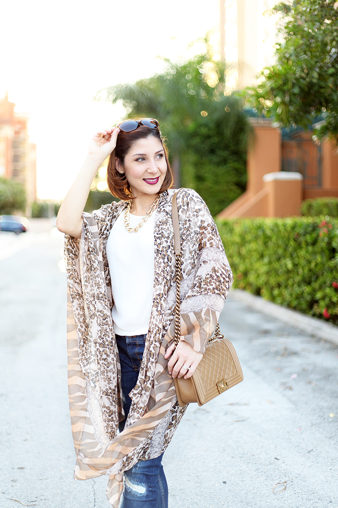 Blame it on Mei Miami Fashion Blogger Fall 2015 Animal Print Kimono Valentino Rockstud Sandal Montblanc Chanel Boy Henri Bendel Tiffany T bracelet
