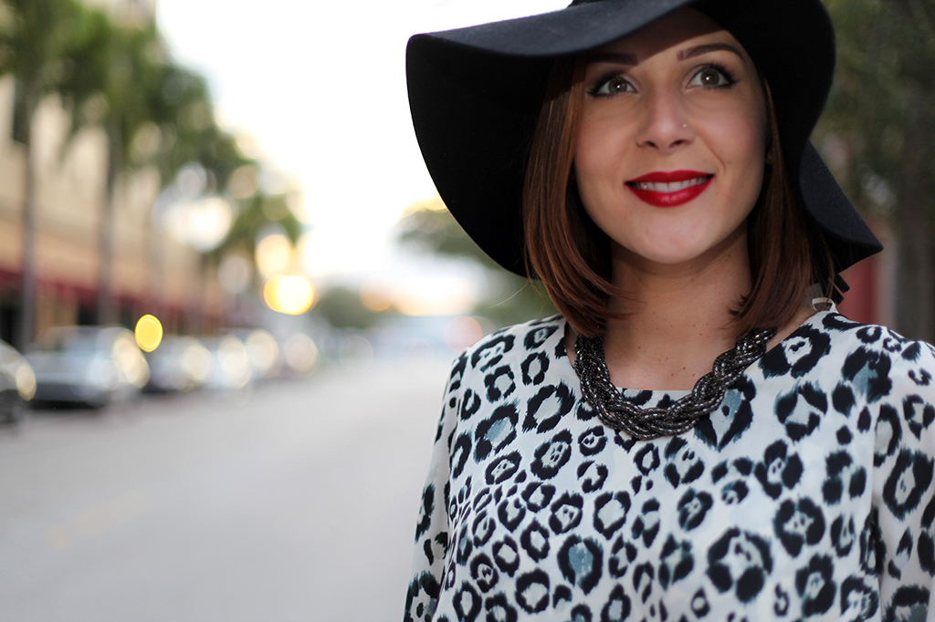lame it on Mei Miami Fashion Blogger Fall 2015 Leopard Blouse Chanel Classic Suade Sandals Cartier Ballon Bleu Henri Bendel Floppy Black Hat