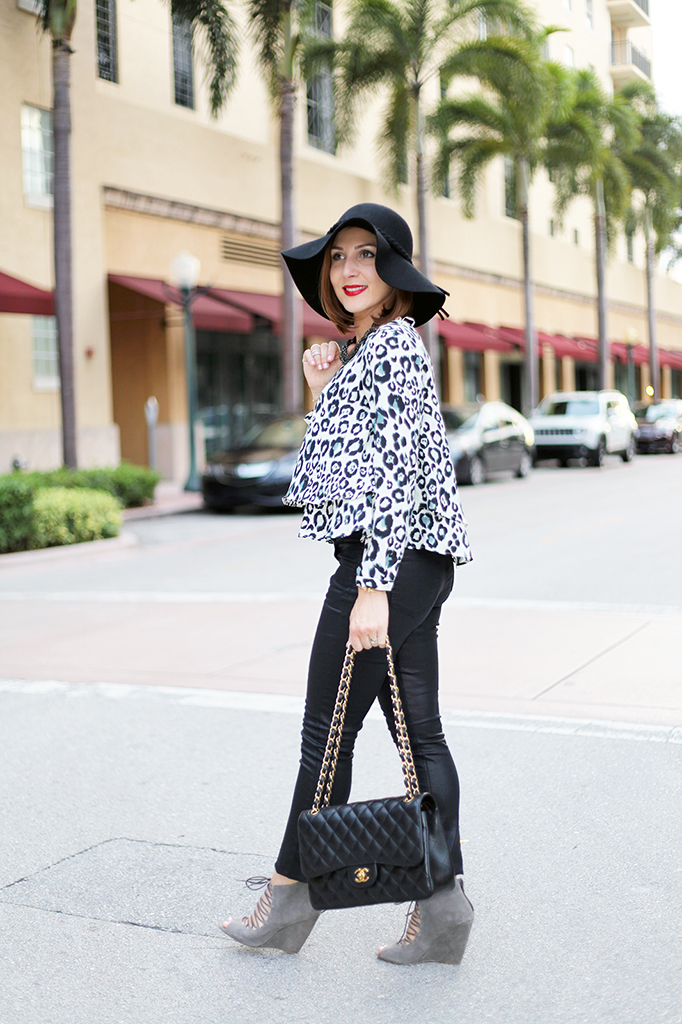 lame it on Mei Miami Fashion Blogger Fall 2015 Leopard Blouse Chanel Classic Suade Sandals Cartier Ballon Bleu Henri Bendel Floppy Black Hat