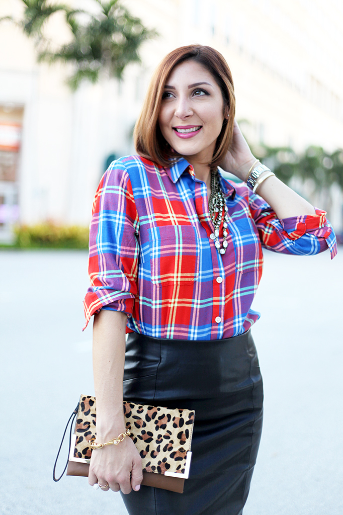 Plaid Attitude: Pencil Skirt + Button-down Shirt - Blame it on Mei | Miami Fashion Blogger Mei Jorge