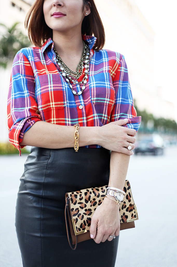 504f001b1 Blame it on Mei Miami Fashion Blogger Fall 2015 Old Navy Plaid SheIn Pencil  Skirt Leopard