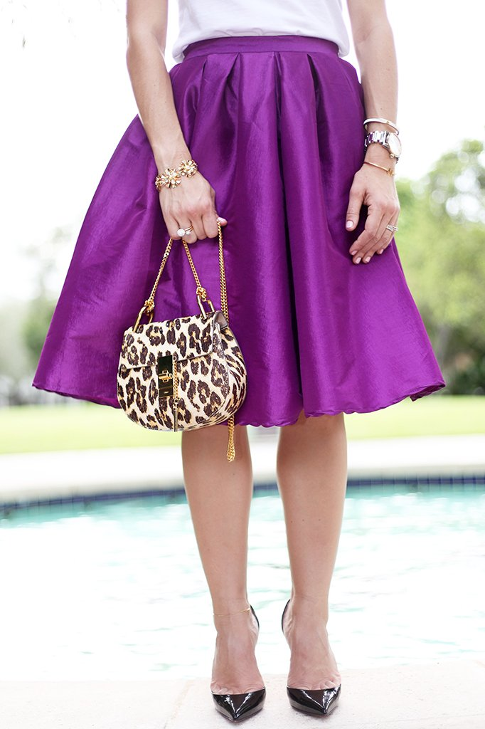 Blame it on Mei Miami Fashion Blogger Fall 2015 T+J Design tshirt Chloe Drew Leapord Purple Midi Skirt Tiffany T Bracelet Montblanc Baublebar Henri Bendel Louboutin Black Pumps