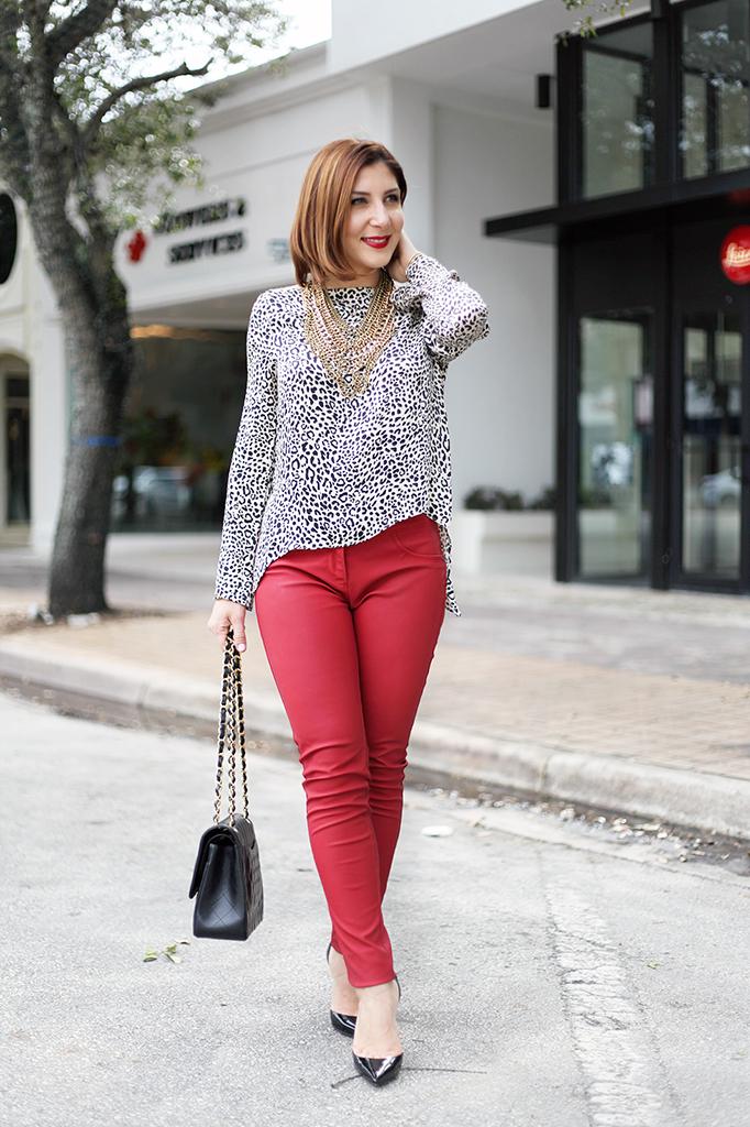 Blame it on Mei Miami Fashion Blogger Fall Animal Print Blouse Chanel Classic Black Red Pants Montblanc Baublebar Henri Bendel Louboutin Black Pumps