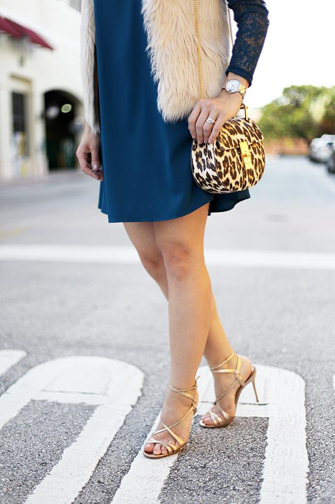 Blame it on Mei Miami Fashion Blogger Fall 2015 Fur Vest Emerald Green Lace Dress Chloe Drew Leopard Louboutin Gold Sandals Cartier Ballon Bleu Henri Bendel Tiffany T bracelet