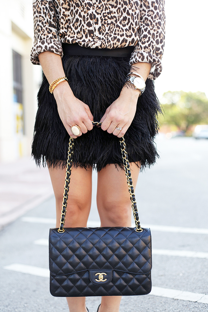 Blame it on Mei Miami Fashion Blogger Fall 2015 Zara Leapord Blouse Feather Mini Skirt Chanel Classic Tiffany T Bracelet Cartier Ballon Bleu Louboutin Black Pumps