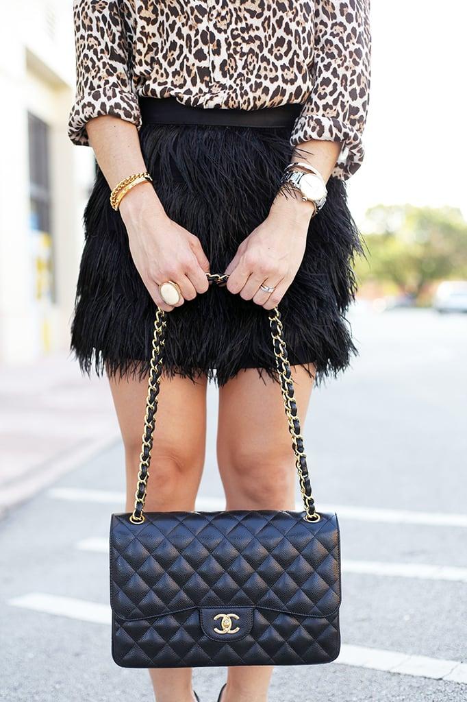 Blame it on Mei Miami Fashion Blogger Fall 2015 Zara Leapord Blouse Feather Mini Skirt Chanel Classic Tiffany T Bracelet Cartier Ballon Bleu Louboutin Black Pumps