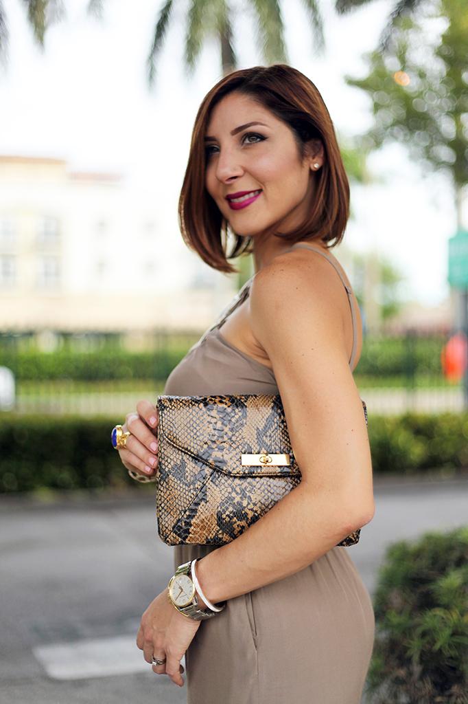 Blame it on Mei Miami Fashion Blogger Fall 2015 Bebe Embelished Jumpsuit Animal Print Clutch Tiffany T Bracelet Montblanc Watch Bendel Louboutin Gold Sandals