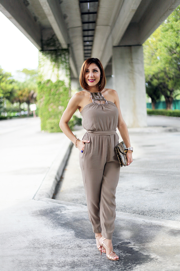 Blame it on Mei Miami Fashion Blogger Fall 2015 Bebe Embelished Jumpsuit Animal Print Clutch Tiffany T Bracelet Montblanc Watch Bendel Louboutin Gold Sandals