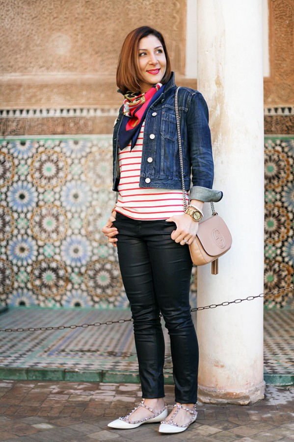 Blame it on Mei Miami Fashion Travel Blogger Morocco 2015 Stripe Sweater Jean Jacket Hermes Scarf Coated Jeans Valentino Rockstud Flats Gucci Soho Chanel Brooch Movado Bold