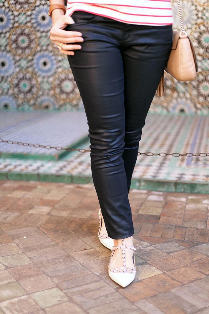 Blame it on Mei Miami Fashion Travel Blogger Morocco 2015 Stripe Sweater Jean Jacket Hermes Scarf Coated Jeans Valentino Rockstud Flats Gucci Soho Chanel Brooch Movado Bold