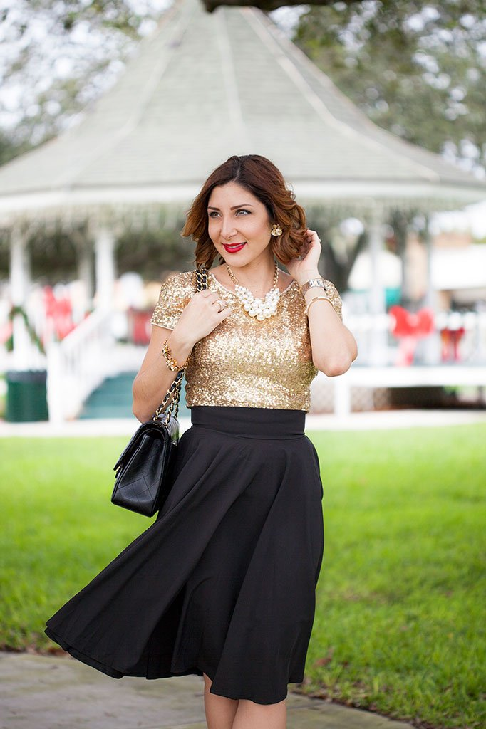 Blame it on Mei Miami Fashion Blogger Holiday Look 2015 Sequin Top Pleated Skirt Chanel Classic Double Flap Black Cartier Balloon Bleu Short Hair Natural Waves Louboutin So Kate Suede RedPumps