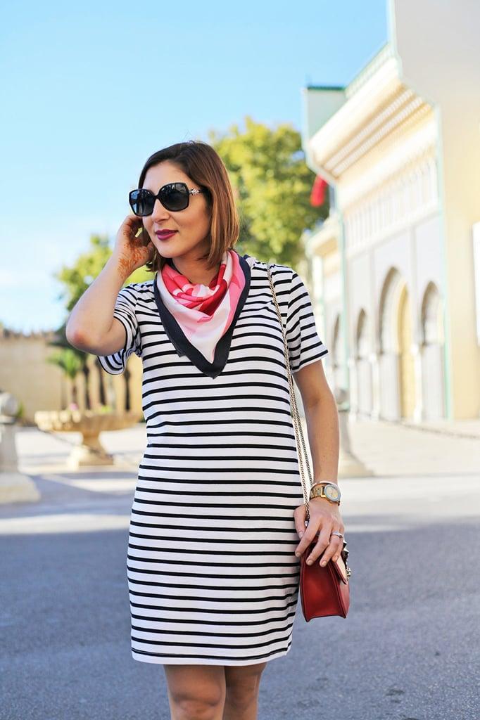 Blame it on Mei Miami Fashion Travel Blogger Morocco 2015 Shein Stripe Shift Knee Lenght Dress Colorful Scarf Movado Bold Gold Valentino Red Lock Rockstud Crossbody Bvlgari Sunglasses