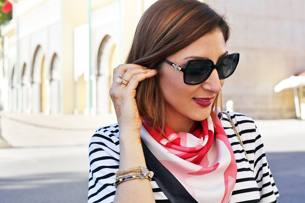 Blame it on Mei Miami Fashion Travel Blogger Morocco 2015 Shein Stripe Shift Knee Lenght Dress Colorful Scarf Movado Bold Gold Valentino Red Lock Rockstud Crossbody Bvlgari Sunglasses