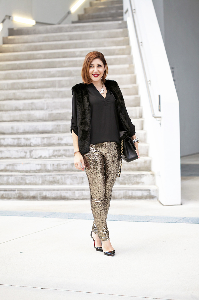 Blame it on Mei Miami Fashion Blogger Holiday Look 2015 Sequin Legging Sequin Pants Faux Fur Vest Montblanc Timewalker Watch Louboutin Iriza Patent Pumps Chanel Classic Double Flap Handbag
