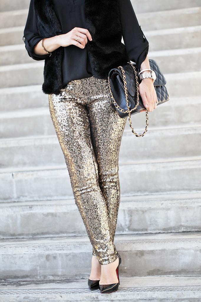 Blame it on Mei Miami Fashion Blogger Holiday Look 2015 Sequin Legging Sequin Pants Faux Fur Vest Montblanc Timewalker Watch Louboutin Iriza Patent Pumps Chanel Classic Double Flap Handbag