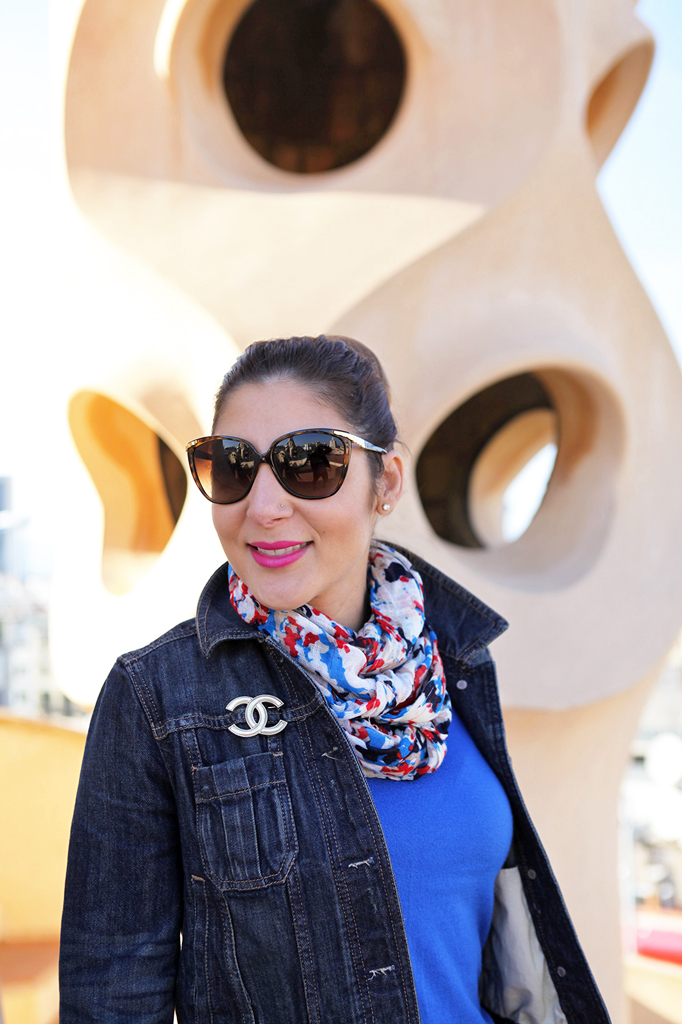 Blame it on Mei Miami Fashion Travel Blogger Barcelona Spain 2015 Denim Jacket Colorful Scarf Movado Bold Gold Valentino Rockstud Crossbody Caged Ballerina Flats D&G Sunglasses