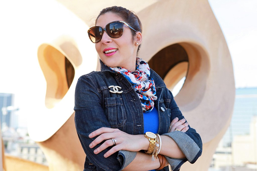 12-21-15-Blame-it-on-Mei-Miami-Fashion-Travel-Blogger-Barcelona-Spain-2015-Denim-Jacket-Colorful-Scarf-Movado-Bold-Gold-Valentino-Rockstud-Crossbody-Caged-Ballerina-Flats-D&G-Sunglasses-3-1024