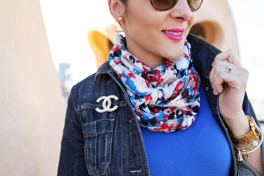 Blame it on Mei Miami Fashion Travel Blogger Barcelona Spain 2015 Denim Jacket Colorful Scarf Movado Bold Gold Valentino Rockstud Crossbody Caged Ballerina Flats D&G Sunglasses