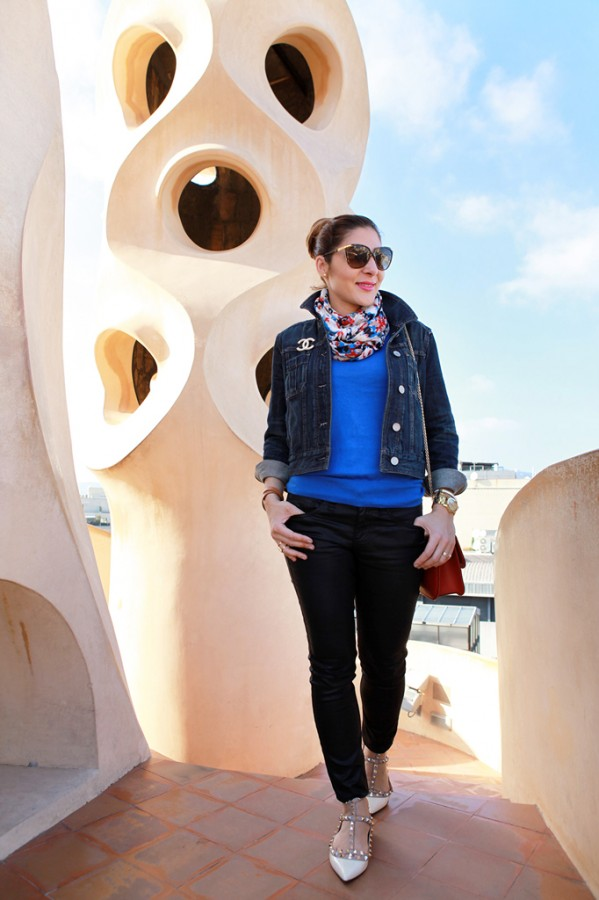 Blame it on Mei Miami Fashion Travel Blogger Barcelona Spain 2015 Denim Jacket Colorful Scarf Movado Bold Gold Valentino Rockstud Crossbody Caged Ballerina Flats Chanel Brooch D&G Sunglasses