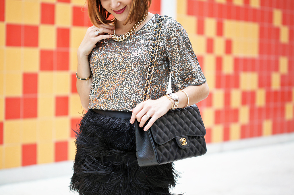 Blame it on Mei Miami Fashion Blogger Holiday Look 2015 Sequin Blouse Pencil Skirt Fur Vest Cartier Ballon_Bleau Louboutin Iriza Pumps Chanel Classic Double Flap