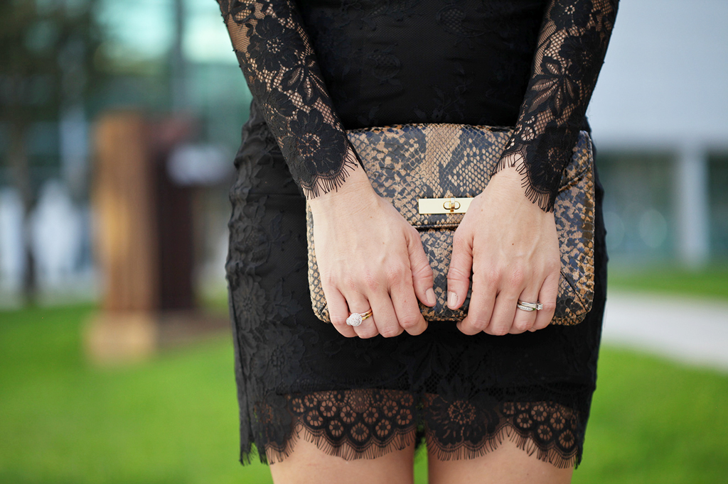 Blame it on Mei Miami Fashion Blogger Holiday NYE Look 2015 Animal Print Clutch BEBE Black Lace Embroider Dress Louboutin Glitter Gold Sandals