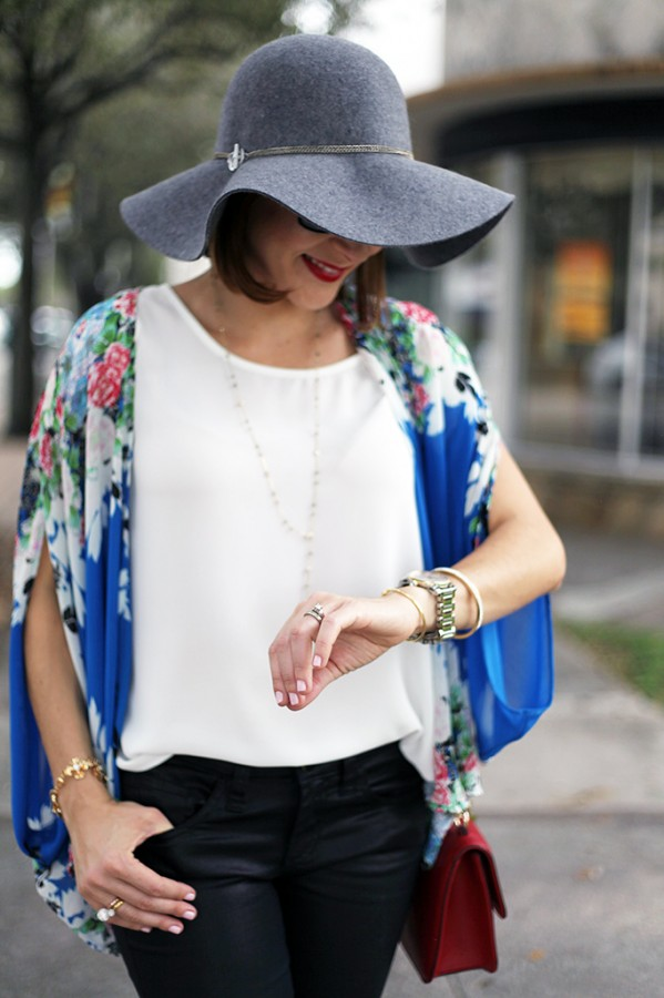 Blame it on Mei Miami Fashion Blogger Fall 2015 Blue Flower Kimono Henri Bendel Dainty necklace Coated Jeans Gray Floppy Hat Rolex Daytona Bvlgari Sunglasses Suede Lace up Sandals