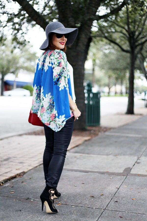12-3-15 Blame it on Mei Miami Fashion Blogger Fall 2015 Blue Flower Kimono Henri Bendel Dainty necklace Coated Jeans Gray Floppy Hat Rolex Daytona Bvlgari Sunglasses Suede Lace up Sandals-2-1024