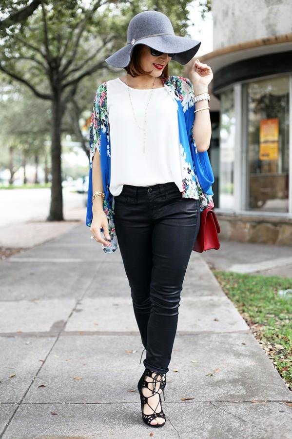 12-3-15 Blame it on Mei Miami Fashion Blogger Fall 2015 Blue Flower Kimono Henri Bendel Dainty necklace Coated Jeans Gray Floppy Hat Rolex Daytona Bvlgari Sunglasses Suede Lace up Sandals-3-1024