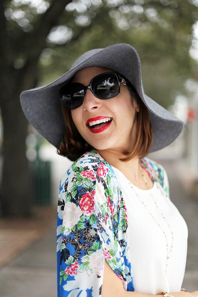 Blame it on Mei Miami Fashion Blogger Fall 2015 Blue Flower Kimono Henri Bendel Dainty necklace Coated Jeans Gray Floppy Hat Rolex Daytona Bvlgari Sunglasses Suede Lace up Sandals