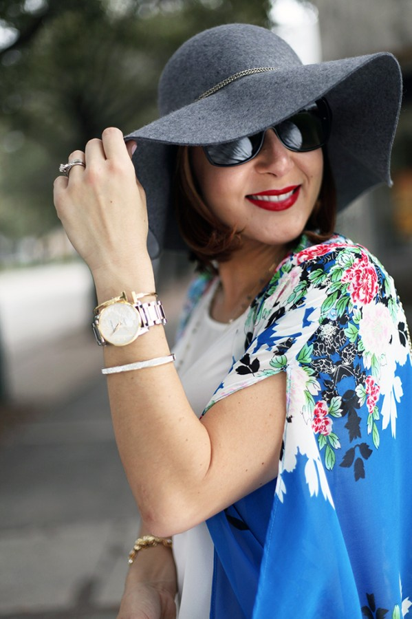 12-3-15 Blame it on Mei Miami Fashion Blogger Fall 2015 Blue Flower Kimono Henri Bendel Dainty necklace Coated Jeans Gray Floppy Hat Rolex Daytona Bvlgari Sunglasses Suede Lace up Sandals-5-1024