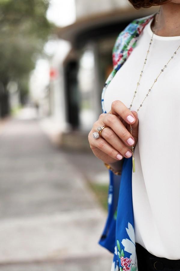 12-3-15 Blame it on Mei Miami Fashion Blogger Fall 2015 Blue Flower Kimono Henri Bendel Dainty necklace Coated Jeans Gray Floppy Hat Rolex Daytona Bvlgari Sunglasses Suede Lace up Sandals-6-1024