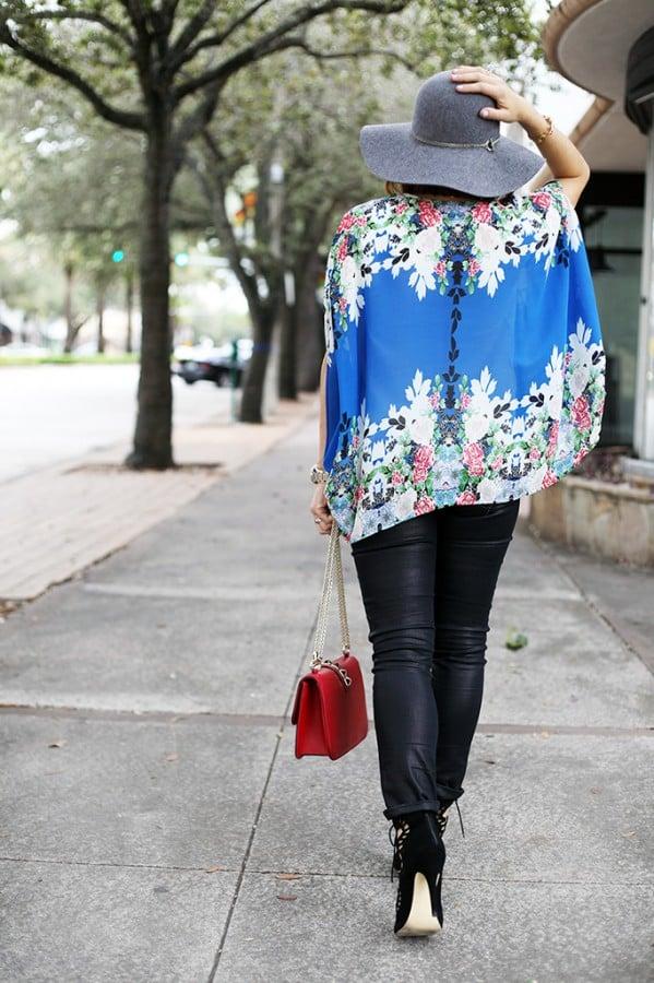 12-3-15 Blame it on Mei Miami Fashion Blogger Fall 2015 Blue Flower Kimono Henri Bendel Dainty necklace Coated Jeans Gray Floppy Hat Rolex Daytona Bvlgari Sunglasses Suede Lace up Sandals-8-1024