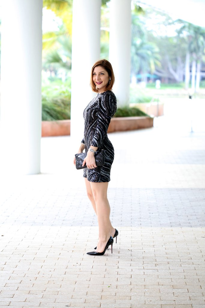 Blame-it-on-Mei-Miami-Fashion-Blogger-Holiday-NYE-Look-2015-Baublebar-Drop-Earrings-Black-Sequin-Long-Sleeve-Dress-Louboutin-Iriza-Pumps