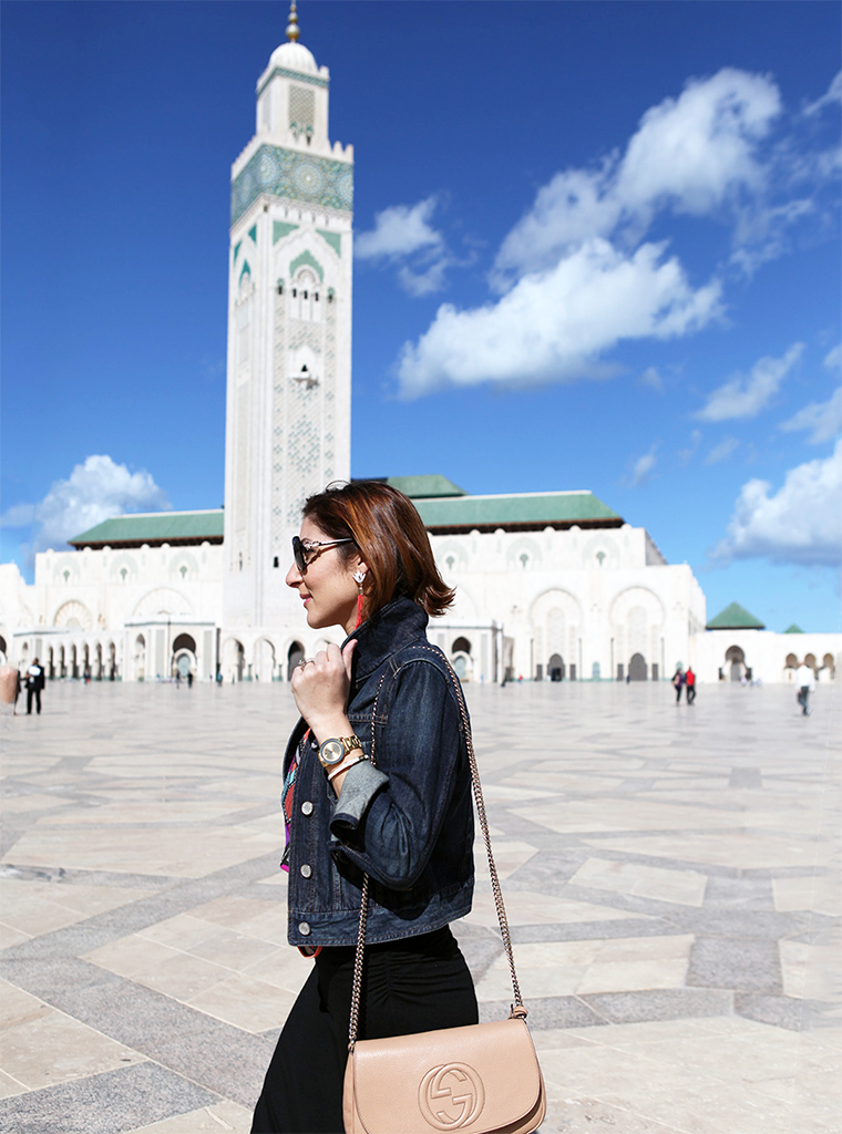 Blame it on Mei Miami Fashion Travel Blogger Morocco 2015 Tribal Shirt Long Maxi Skirt Chanel Brooch Jean Jacket Tassel Drop Earrings Movado Bold Bvlgari Sunglasses
