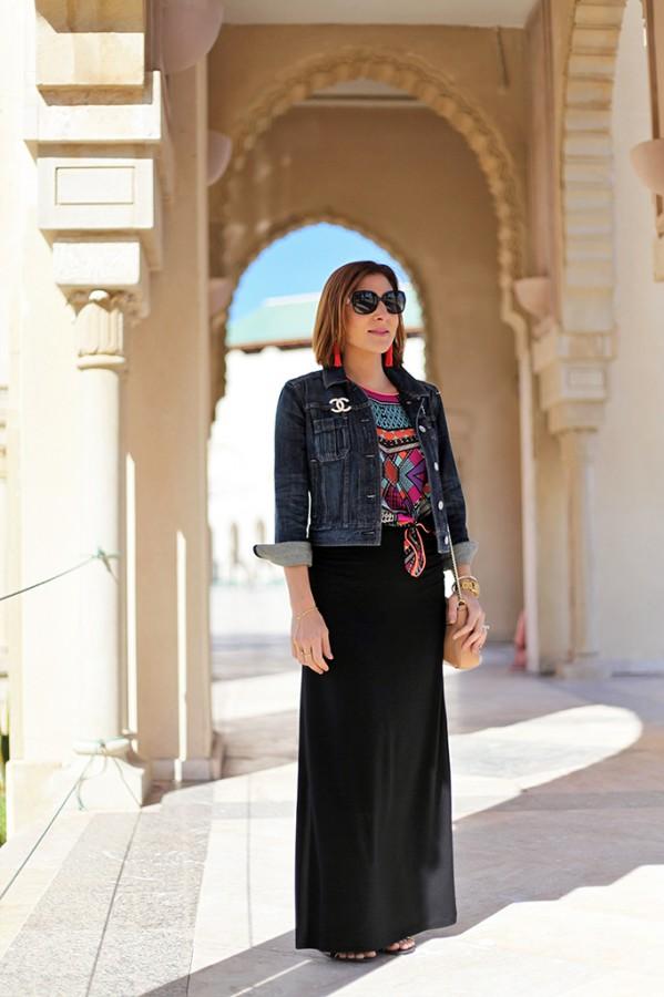 Blame it on Mei Miami Fashion Travel Blogger Morocco 2015 Tribal Shirt Long Maxi Skirt Chanel Brooch Jean Jacket Tassel Drop Earrings Movado Bold Bvlgari Sunglasses