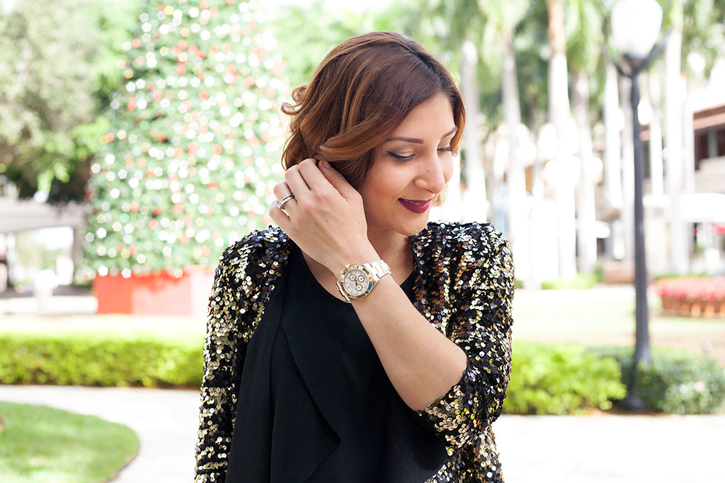 Blame it on Mei Miami Fashion Blogger Holiday Look 2015 Sequin Jacket Blazer Pleather Legging Chanel Classic Handbag Rolex Daytona Short Hair Natural Waves Louboutin Iriza Pumps