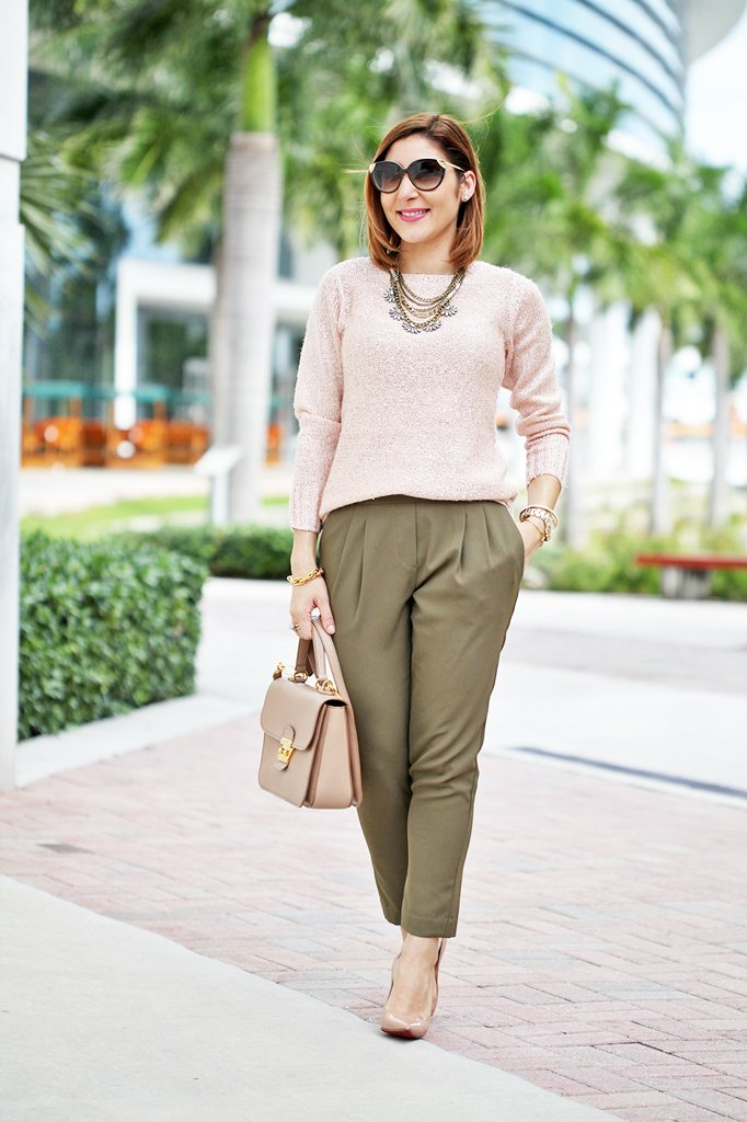Blame-it-on-Mei-Miami-Fashion-Blogger-2016-Rose-Quartz-Sweater-Olive-Green-Pants-Monochromatic-Look-Baublebar-Necklace-Rolex-Daytona-Miu-Miu-Madras-Christian-Loubotin-Nude-Pumps