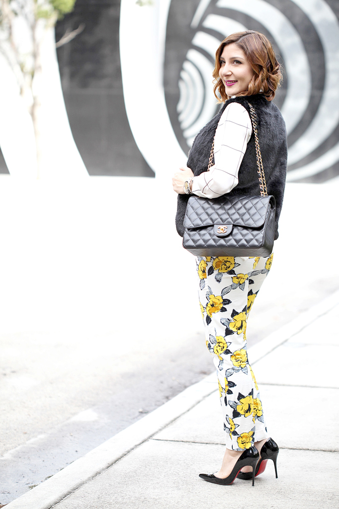1-13-16-Blame-it-on-Mei-Fashion-Blogger-2016-Fur-Vest-Grid-Print-Blouse-Floral-Pants-How-To-Mix-Patterns-Rolex-Submariner-Chanel-Classic-Louboutin-Iriza-Pumps-Soft-Waves