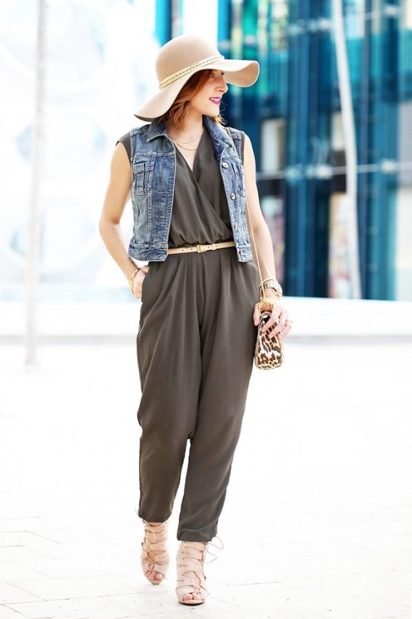 1-18-16-Blame-it-on-Mei-Fashion-Blogger-2016-Denim-Jacket-Olive-Green-Jumpsuit-Floppy-Hat-Chloe-Drew-Leopard-Crossbody-Lace-Up-Sandals-Soft-Waves